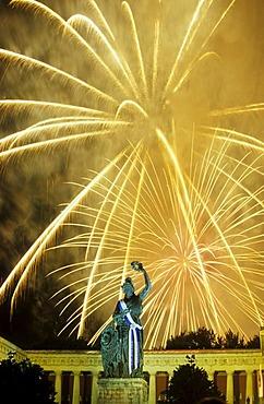 Fireworks over the Bavaria statue during Oktoberfest, Munich, Bavaria, Germany, Europe