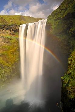 Skogafoss Waterfall with rainbow, South Coast, Iceland, Europe
