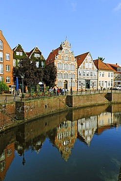 Half-timbered houses, Alter Hafen, Old Harbour, Stade, Lower Saxony, Germany, Europe