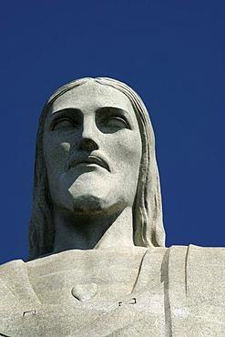 Christ the Redeemer, statue, head, detail, Corcovado, Brazil, South America