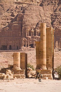 Colonnaded street and the royal tombs, Petra, Jordan, Southwest Asia