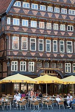 Half-timbered building, Knochenhaueramtshaus, Butchers' Guild Hall, market square, Hildesheim, Lower Saxony, Germany, Europe