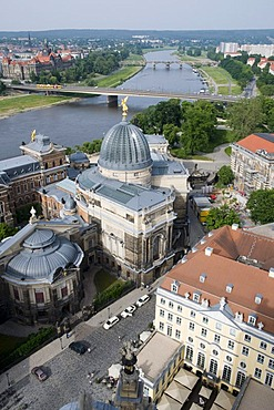 View from the Frauenkirche Church of Our Lady on the Kunstakademie Academy of Arts and the Elbe river, Old Town, Dresden, Saxony, Germany