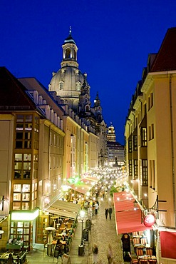 Muenzgasse street with the cuppola of the Frauenkirche Church of Our Lady at night, old town, Dresden, Saxony, Germany