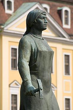 Truemmerfrau, rubble women memorial and Neues Gewandhaus theater, Dresden, Saxony, Germany