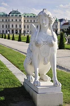 Sphinx in the gardens of Belvedere Palace, Vienna, Austria, Europe