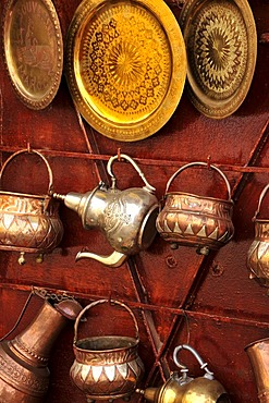 Blacksmith goods in the Souk, market, in the Medina, historic city centre of Marrakech, Morocco, Africa