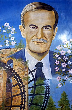 Mural painting with a picture of the deceased president Hafiz al-Assad, Hama, Syria, Middle East, Orient