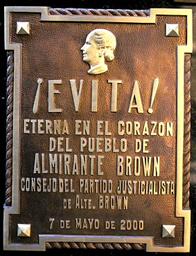 Tombstone on the grave of Evita, Eva Peron, at the Recoleta Cemetery, Buenos Aires, Argentina, South America