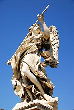 Angel with the Lance statue on the Ponte Sant'Angelo bridge in Rome, Italy, Europe