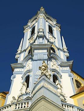Detail of the abbey church in Duernstein an der Donau, Wachau Region, Lower Austria, Europe