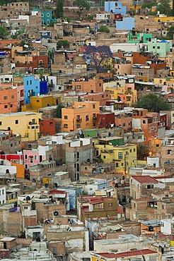 View over the historic town of Guanajuato, UNESCO World Heritage Site, Province of Guanajuato, Mexico