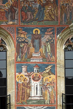 Exterior frescoes, Church of Annunciation, UNESCO World Heritage Site, Moldovita, Southern Bukovina, Moldova, Romania, Europe