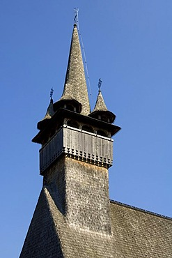 Bell tower, wooden St. Nicholas church of Budesti, UNESCO World Heritage Site, Maramures, Romania