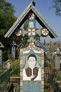 The Merry Cemetery of Sapanta, wooden cross, Maramures, Romania