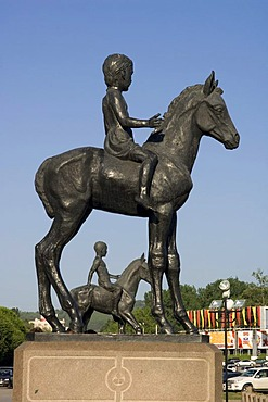 Independence Square, statue of a child on a horse, Almaty, Kazakhstan