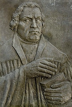 Bas relief of Martin Luther, fortified church Prejmer, Unesco World Heritage Site, Transylvania, Rumania