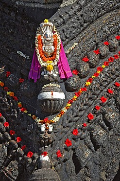 Detail on the neck of a Nandi statue, Chamundi Hill, Mysore, Karnataka, India, South Asia