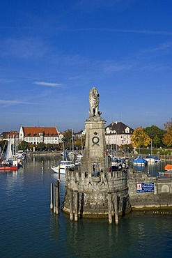 Lindauer Loewe, Lion of Lindau, harbour, Lindau, Lake Constance, Bavaria, Germany