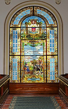 Stained glass window in parliamentary building, portrayal of Champlain's departing France to journey Canada in 1608, Hotel du Parlement, Quebec City, Canada, North America