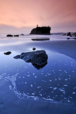 Pool left by the tide, Rialto Beach, Mora, Olympic National Park, Washington, USA, North America