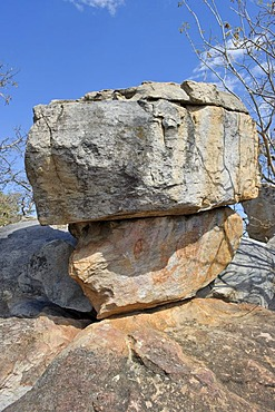 Rocks with paintings on the Rhino-Trail of the UNESCO World Heritage Site, Tsodilo Hills, Botswana, Africa
