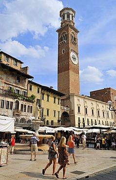 Piazza delle erbe, Verona, Veneto, Italy, Europe