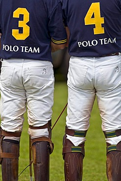 Two polo players standing, photographed from behind, at the Berenberg High Goal Trophy 2008 polo tournament in Thann, Holzkirchen, Bavaria, Germany, Europe