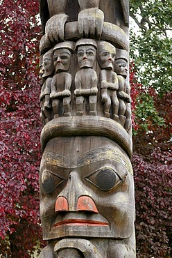 Indian totem pole, close-up, Royal BC Museum, Victoria, British Columbia, Canada, North America
