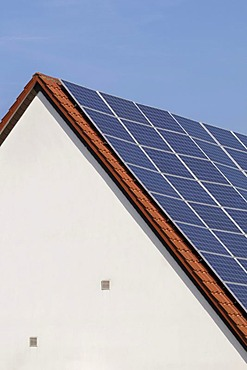 Solar collectors on a roof