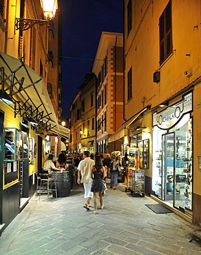 Alassio pedestrian zone, night photograph, Riviera dei Fiori, Liguria, Italy, Europe