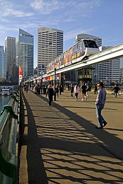 Bridge over Darling Harbour with monorail, Sydney, Australia