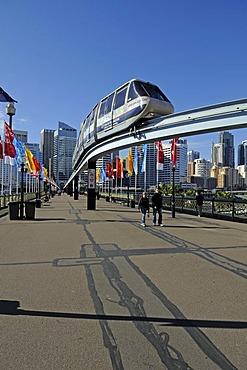 Monorail railway on Pyrmont Bridge in Darling Harbour, Sydney, Australia