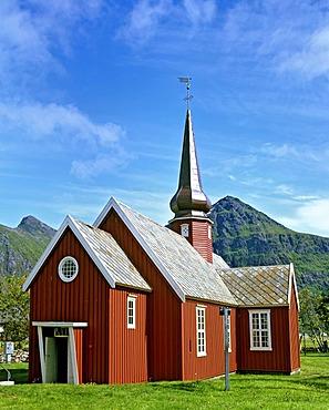 Wooden church built 1780 in Flakstad, community in Fylke Nordland, Lofoten, Norway