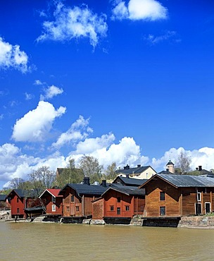 Old row of houses on the Porvoonjoki river, warehouses, South Finland