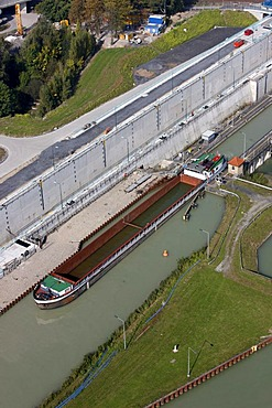 Dortmund-Ems Canal, floodgate in Muenster, North Rhine-Westphalia, Germany, Europe