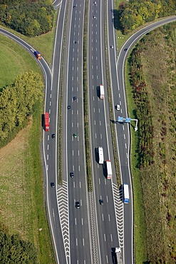 Traffic lanes of the A1 motorway, Muenster-Nord junction, on- and off- ramps, North Rhine-Westphalia, Germany, Europe