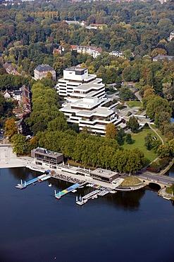 Building of the Landesbausparkasse, German public bank, LBS West, on Aasee Lake, Muenster, North Rhine-Westphalia, Germany, Europe