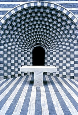 San Giovanni Battista, modern church by Mario Botta, Mogno, Maggia Valley, Valle Maggia, Canton of Tessin, Switzerland, Europe