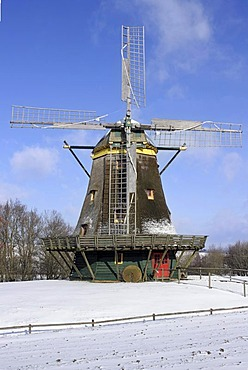 Historic windmill, smock mill, winter in Hessenpark, Neu-Anspach, Taunus, Hesse, Germany, Europe