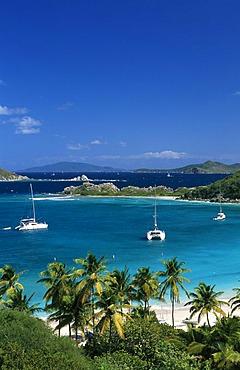 Yachts in a bay at Peter Island, British Virgin Islands, Caribbean