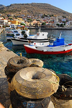 Fishing traps at the port of Emborio, Chalki Island, Dodecanese, Greece, Europe