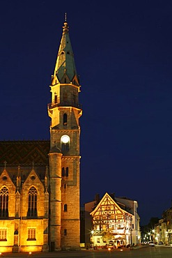 Town parish church and Ratstube in Meiningen, Rhoen, Thuringia, Gerrmany, Europe