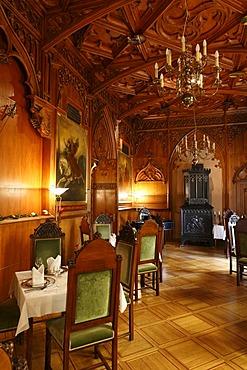 Knights hall in the Landsberg Castle Hotel, Meiningen, Rhoen, Thuringia, Gerrmany, Europe