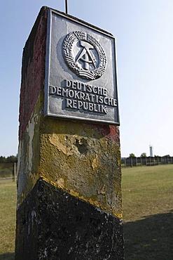 DDR border sign, Point Alpha Border Museum, Rasdorf/Geisa, Rhoen, Hesse/Thuringia, Germany, Europe