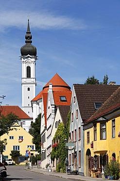 Herrenstrasse with Marienmuenster Cathedral in Diessen on Lake Ammersee, Pfaffenwinkel, Fuenfseenland, Upper Bavaria, Germany, Europe