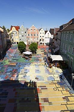 Marienplatz Square in Weilheim, pavement with Kandinsky paintings, Pfaffenwinkel, Upper Bavaria, Germany, Europe