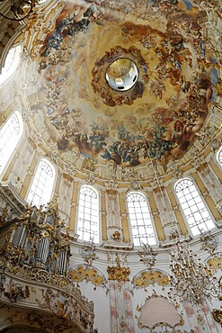 Dome with ceiling painting in Ettal Abbey Church, Upper Bavaria, Germany, Europe