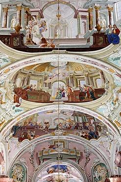 Ceiling fresco, Stiftskirche, Collegiate church, Cistercian monastery, Rein Abbey, Styria, Austria, Europe