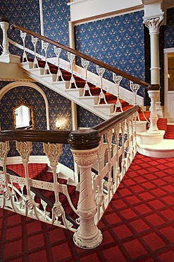 Staircase in an old hotel in Plymouth, Cornwall, Great Britain, Europe